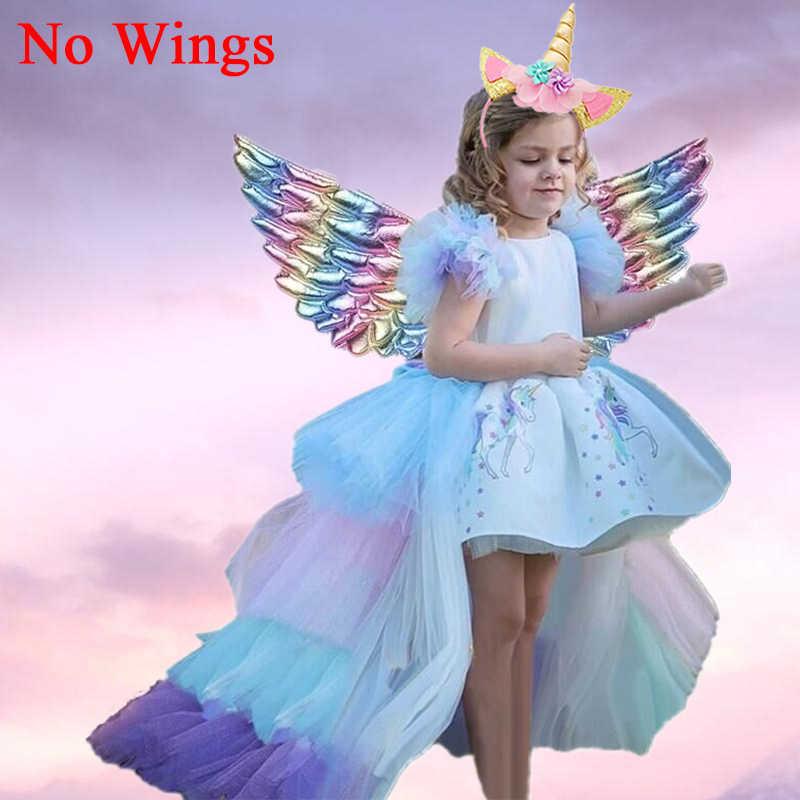 4-10 年ユニコーン 2020 夏ユニコーンパーティープリンセスドレスアップカラフルな衣装のためのドレス女の子服