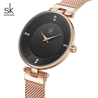 Shengke Rose Gold Women Watches Fashion Ladies Quartz Watch 2020 SK Women Wrist Watch Luxury Stainless Steel Accessory Gift