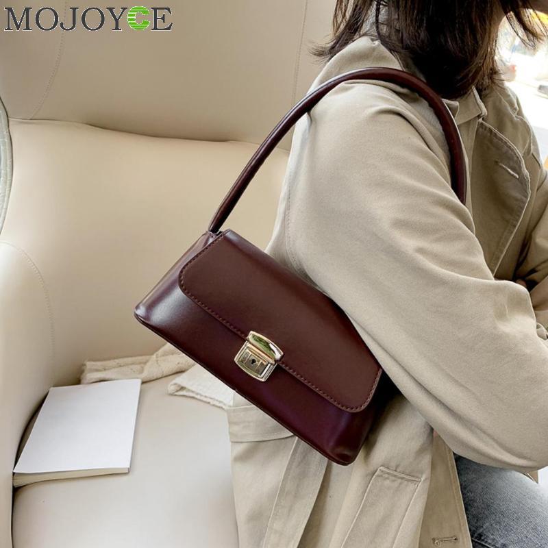 Classic Women Handbag PU Leather Fashion Shopping Shoulder Bag Solid Color Vintage Ladies Shopping Totes