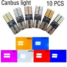10 PCS T10 LED Bulb Canbus 5W5 Car W5W LED Signal Light 12V 6000K License Plate Lights 4014 24SMD White