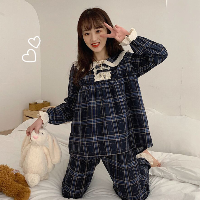 Pajamas Women's 2019 New Style Autumn And Winter Plaid Peter Pan Collar Lace Homewear Set Hipster Two-Piece Set Fashion