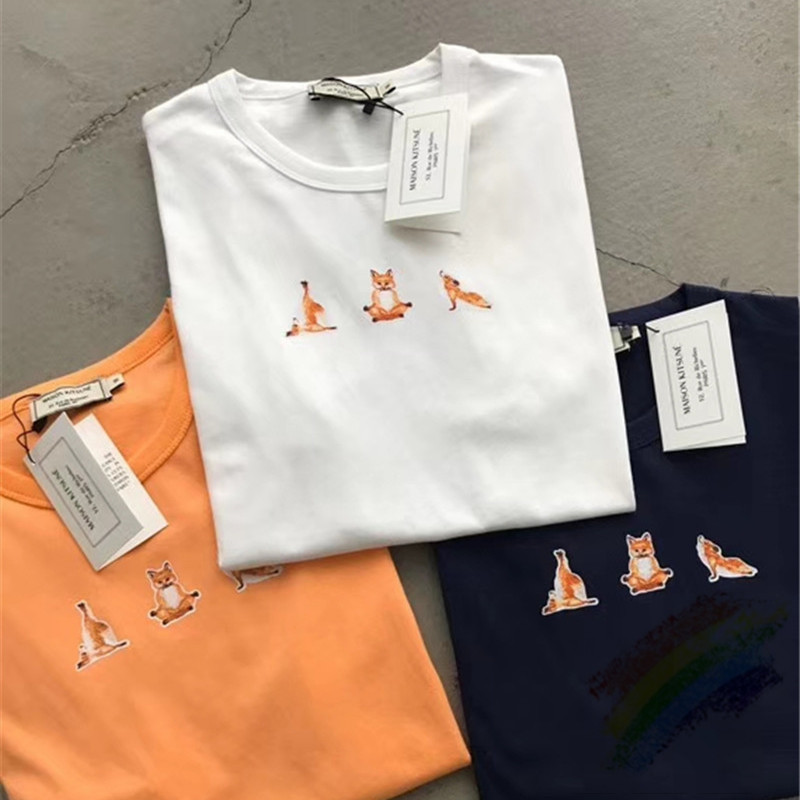 FOX Printing Maison KITSUNE Short Sleeve Top Tees Men Women 1:1 High Quality Summer Cotton Maison KITSUNE T Shirt