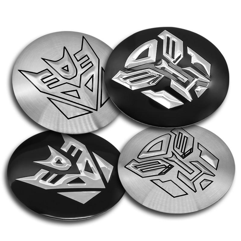 4pcs 56mm Transformers Autobots Logo Aluminum Alloy Car Wheel Center Hub Caps Emblem Badge Sticker Car Styling Accessory
