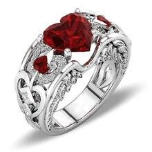 Clássico feminino vermelho coração zircon anel moda princesa anel de noivado casamento acessórios jóias para amigo feminino melhor presente