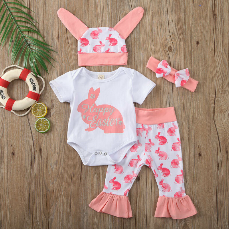 4PCS Newborn Baby Girl Cartoon First Easter 3D Bunny Romper+Hat+Pant Outfits Set