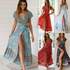 2021 Summer Women Dress Indie Folk Women Sexy Printed Bow Holiday Beach Wrap Dresses V-Neck Boho Dress Elegant Party Sundress 1