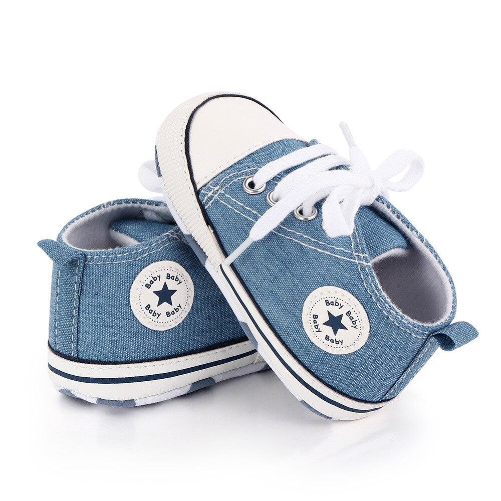 Детская обувь для мальчиков и девочек; Твердые кроссовки со звездами; Хлопковая мягкая нескользящая подошва; Обувь для новорожденных; Обувь для начинающих ходить; Повседневная парусиновая обувь для малышей 4