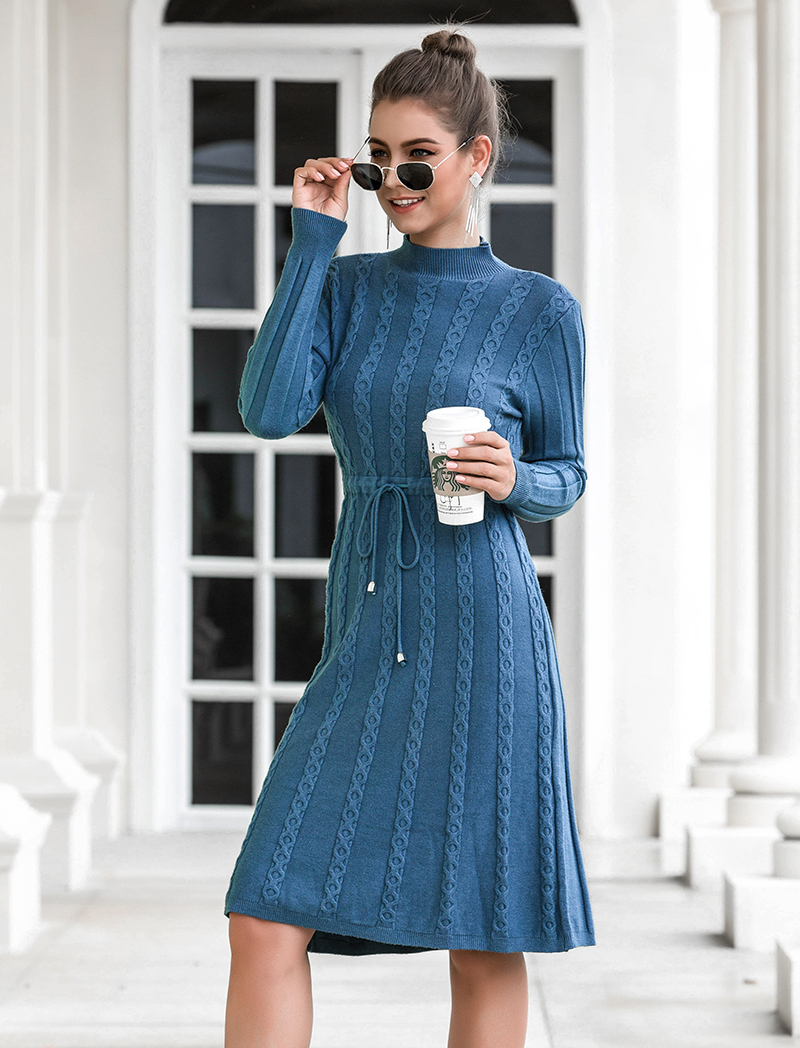 Autumn Winter Dresses 2019 New Arrival Fashion Casual Knee Length Knitted Dress Ladies Long Sleeve Sweater Dresses Black Blue 81