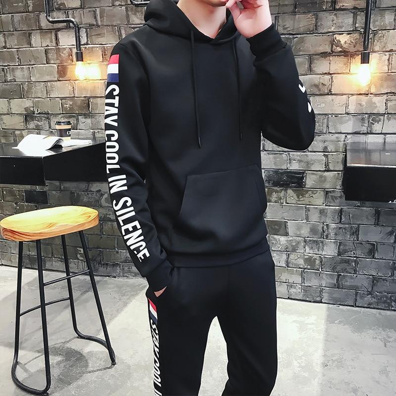 2019 Autumn New Style Korean-style Hoodie Suit Men's Casual Sports Trend Teenager Capri Pants Two-Piece Set