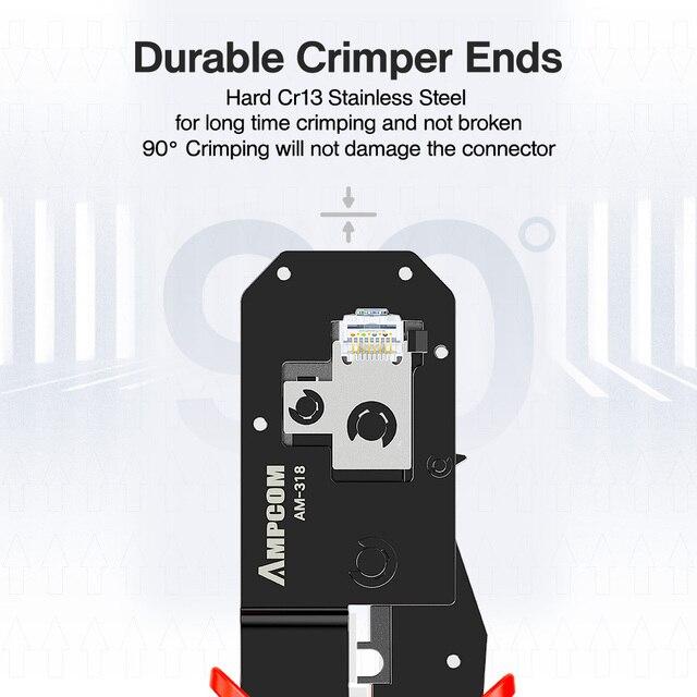 AMPCOM RJ45 Crimping Tool Ethernet Network LAN Cable Crimper Cutter Stripper Plier Modular 8P RJ45 and 6P RJ12 RJ11 3