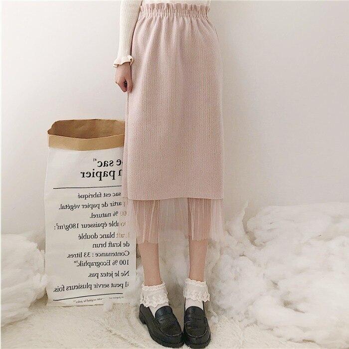 Sicily Japanese-style Gauze Joint Fashion Medium-length Dress Autumn And Winter New Style Woolen Skirt A- Line Skirt High-waiste