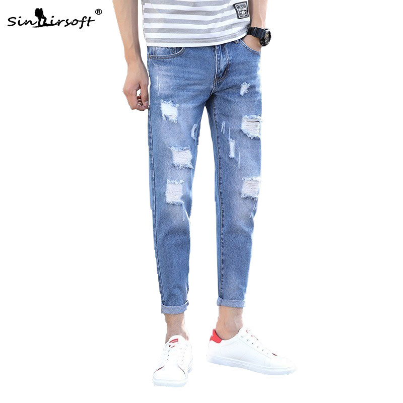 Men Knee Hole Skinny Jeans Pants Causal Slim Fit Stretch Denim Trousers Streetwear Ripped Leggings Pencil Jeans Straight Joggers