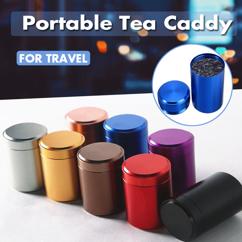 Portable Mini Tea Caddy Travel Sealed Coffee Powder Cans Aluminum Storage Boxes Tea Leaves Container Stash Jar Smell Proof