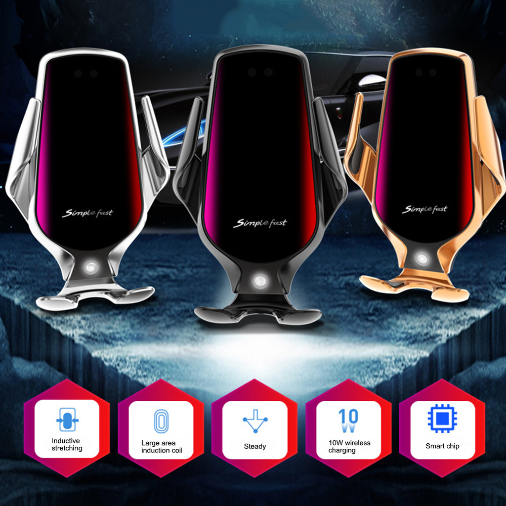 10W Car Wireless Charger Car Phone Holder Smart Sensor Fast Charging Wireless Charger Car Phone Holder Automatic Clamping