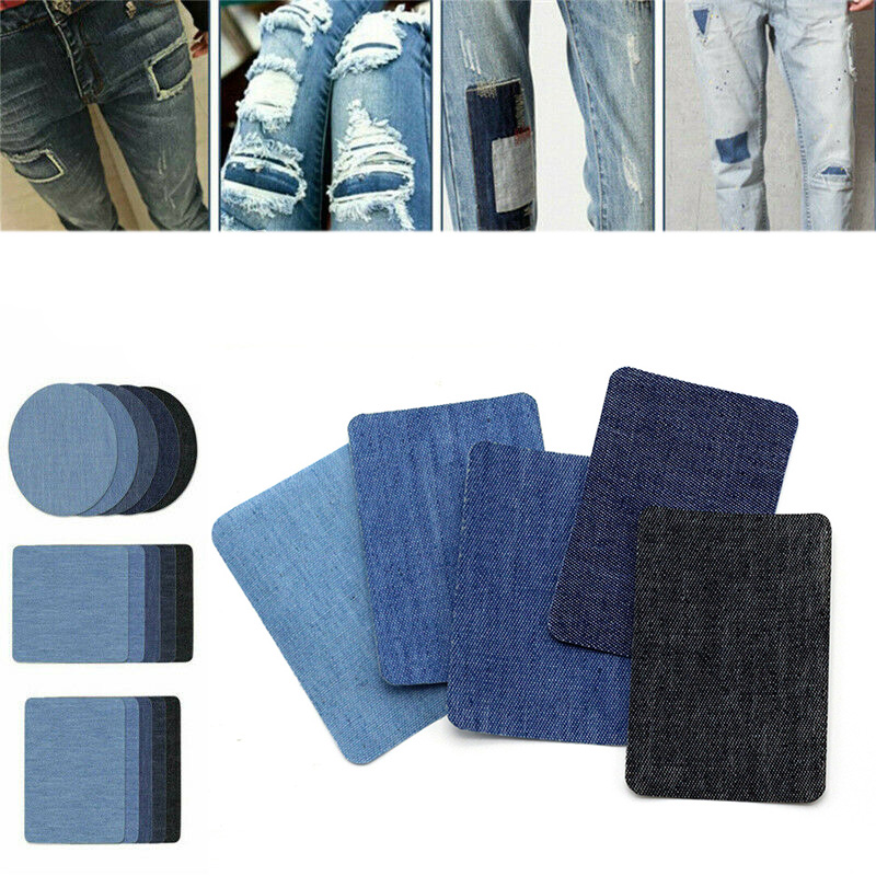 10 or 5PCS Denim Patches DIY Iron On Denim Elbow Patches Repair Pants For Jean Clothing And Jean Pants Apparel Sewing Fabric
