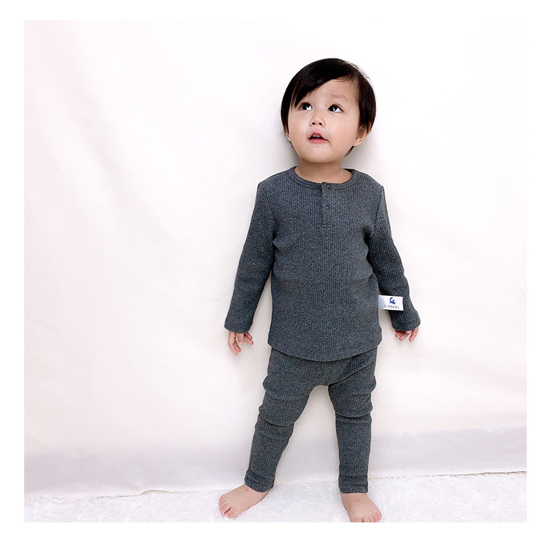 Soft Ribbed Toddler Girl Pajamas For Baby Boys Clothes Set Autumn Winter Children Outfits Long Sleeve Tops Pants 2 Pcs Kids Suit (4)