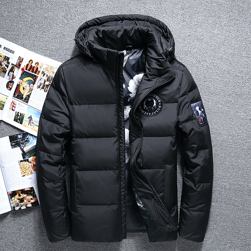 New Fashion Brand Winter White Duck Down Jacket Male Leisure Hooded Warm Down Coat Top Quality Casual Blue Down Parkas Men