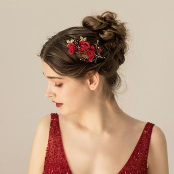 O555 Flannel Red Rose sexy bridal hair ornament wedding hair accessory decorated beaded headpiece jewelled rhinestone headpiece недорого
