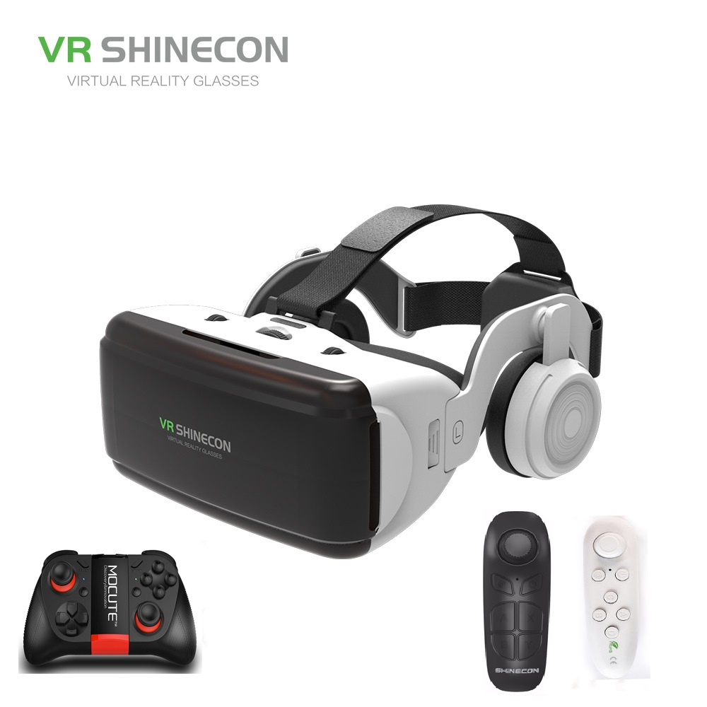 VR SHINECON BOX 5 Mini VR Glasses 3D G 06E Glasses Virtual Reality Glasses VR Headset For Google cardboard with headphone