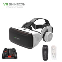 VR SHINECON BOX 5 Mini VR Glasses 3D G 06E Glasses Virtual Reality Glasses VR Headset For Google cardboard with headphone 100% original vr shinecon 6 0 virtual reality goggles 120 fov 3d glasses google cardboard with headset stereo box for smartphone