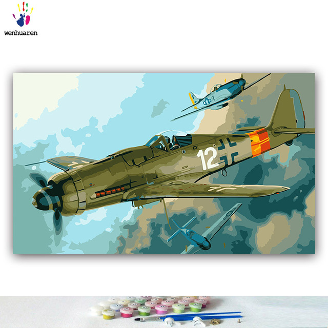 Paint By Numbers Aircraft Focke Wulf FW190 Fighter Luftwaffe WW2 Military