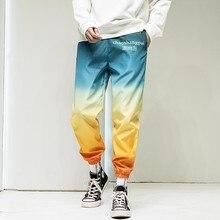 cargo Casual gradient color Pants Couples Korean Trendy Hip Hop Sport Pants women Harem Pants Fashion Contrast Colorful bottom contrast stitches trumpet pants