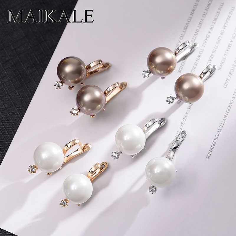 Nuevos pendientes de circonita cúbica de moda MAIKALE con joyería fina de perlas pendientes de oro rosa para mujer exquisita joyería de regalo