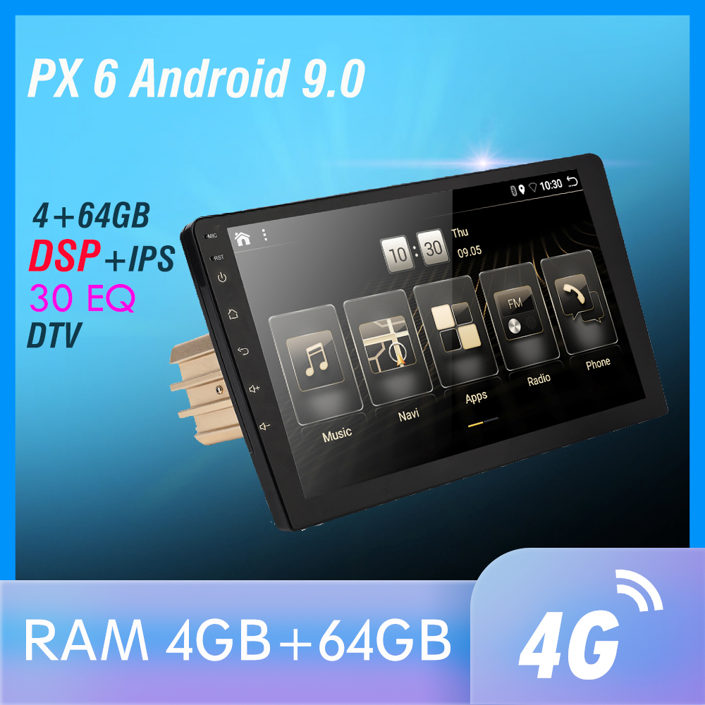 1 Din DSP Android 9 PX6 Multimedia DVD Video Player GPS Navigation Car Radio Stereo Wifi BT HDMI Carplay TV OBD DAB SWC 4G+64G