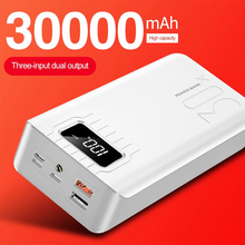 New Arrival Power Bank 30000mAh 3 input Display External laptop Tablet Portable Charger PoverBank Double USB for iphone Samsung
