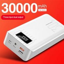 Nova chegada banco de potência 30000 mah 3 entrada display externo portátil tablet carregador portátil poverbank duplo usb para iphone samsung