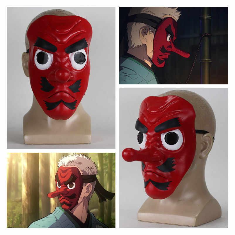 애니메이션 악마 슬레이어 Kimetsu No Yaiba Urokodaki Sakonji 라텍스 코스프레 마스크 Headwear Hannya Tengu Masks 할로윈 파티 마스크 소품