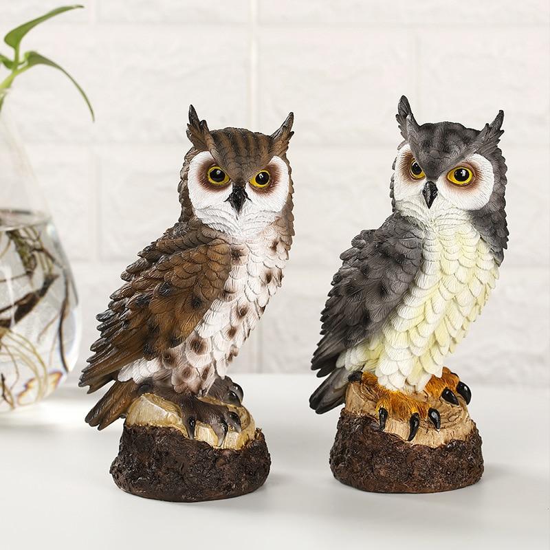 Cute Owl Creative Decoration Resin Animal Sculpture Garden Park Home Living Room Simulation Ornament Micro Landscape Statue Gift