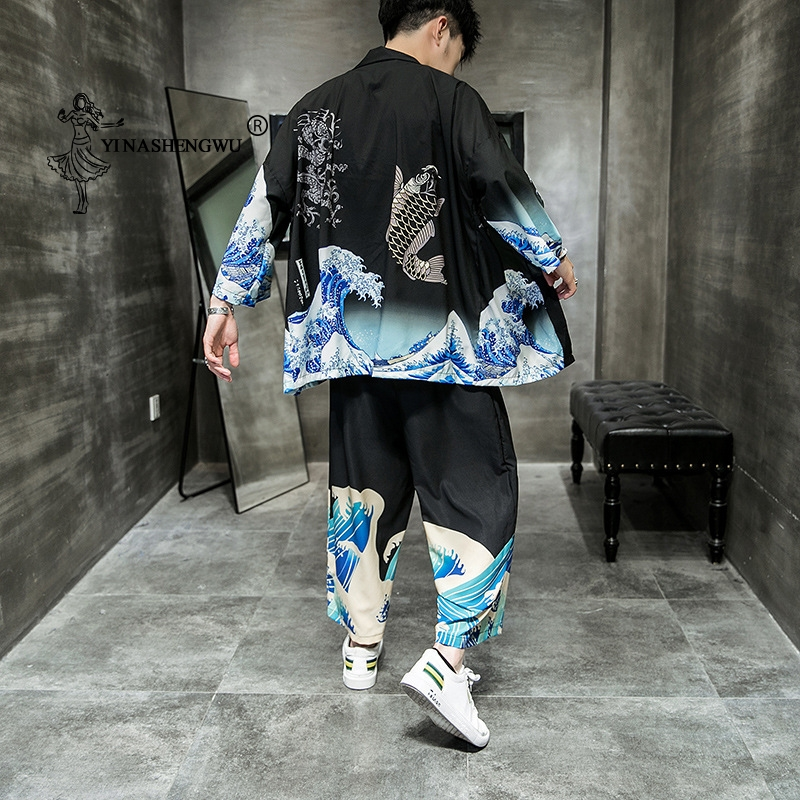 Japanese Kimono Traditional Casual Loose Thin A Set Of Coat And Pants Asian Clothes Harakuju Vintage Print Kimono Cardigan Men