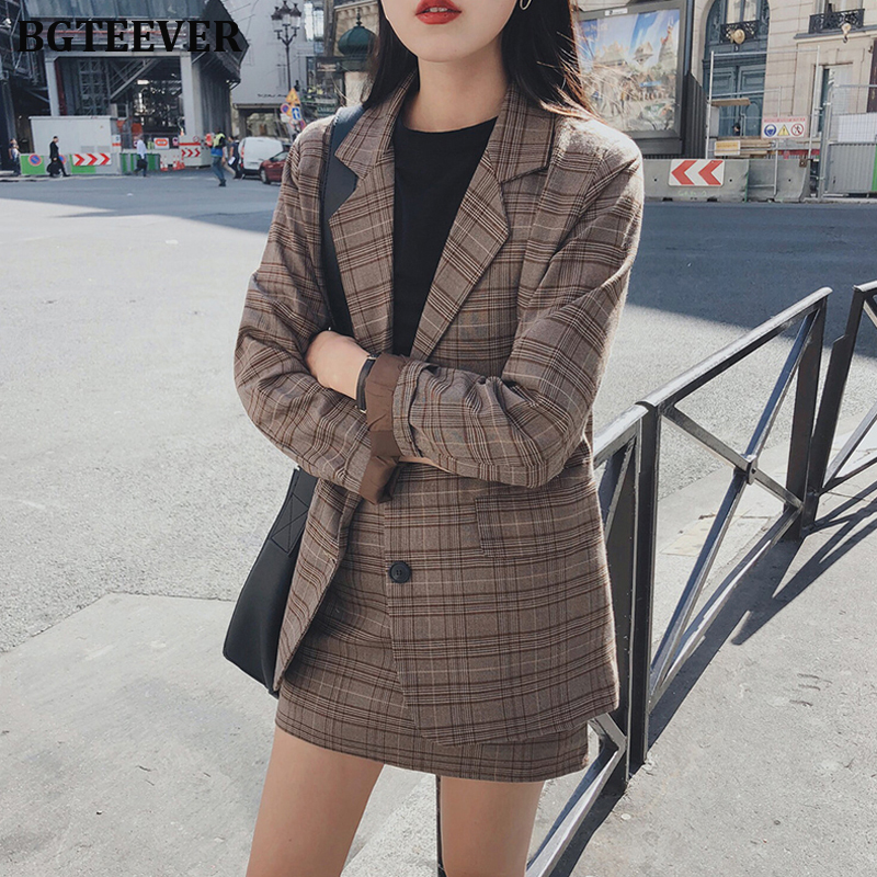 2019 Retro Plaid Blazer Sets Single-breasted Jacket & Pencil Skirt Vintage 2 Pieces Skirt Suits Female Office Ladies Blazer Suit