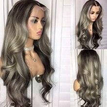 Cinza laço frontal perucas de cabelo humano pré arrancadas glueless ombre cinza destaque solto onda do corpo perucas para preto mulher descorado nós
