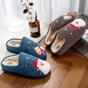 Image 3 - 2019 Winter Cotton Slippers Christmas Cartoon Xmas Deer Women Shoes Lovely santa clause Home Floor Soft non slip men Slippers