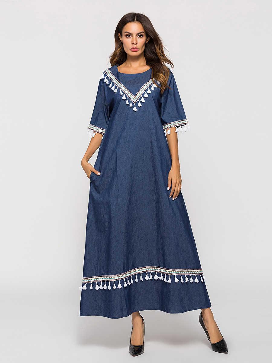 Новое Осеннее женское длинное платье с коротким рукавом арабский Средневосточный халат ковбойские мусульманские поперечные турецкие платья темно-синие 7009