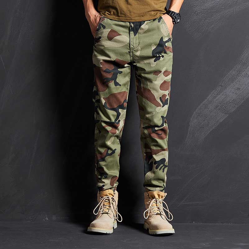 Fashion Camo Joggers Pants Men Casual Taper Fit Military Army Trousers Cargo Pants Man Clothing