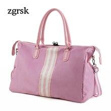 Striped Weekend Travel Bags Men Gym Waterproof Nylon Bag For Women Fitness Luggage Duffle Big Shoulder Handbags