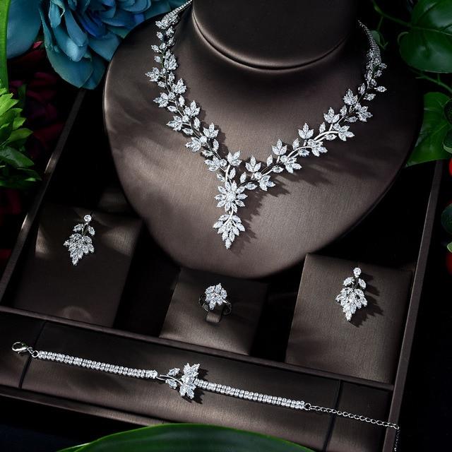 HIBRIDE סופר יוקרה עלה עלים מלא AAA מעוקב Zirconia נשים חתונה שמלת שרשרת עגיל תכשיטי סטי Bijoux Femme N 1143