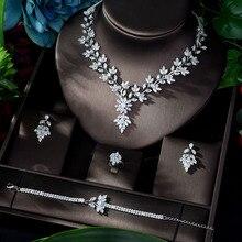 HIBRIDE süper lüks yaprak yapraklar tam AAA kübik zirkonya gelinlik kolye küpe takı setleri Bijoux Femme N 1143
