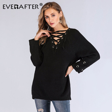 EVERAFTER Sexy V neck lace up winter knitted sweater women long sleeve hollow out black casual pullover autumn sweaters 2019 new autumn winter women pullover sweater sexy deep v neck black color sweater dresses hollow lace up short knitted dress for ladies