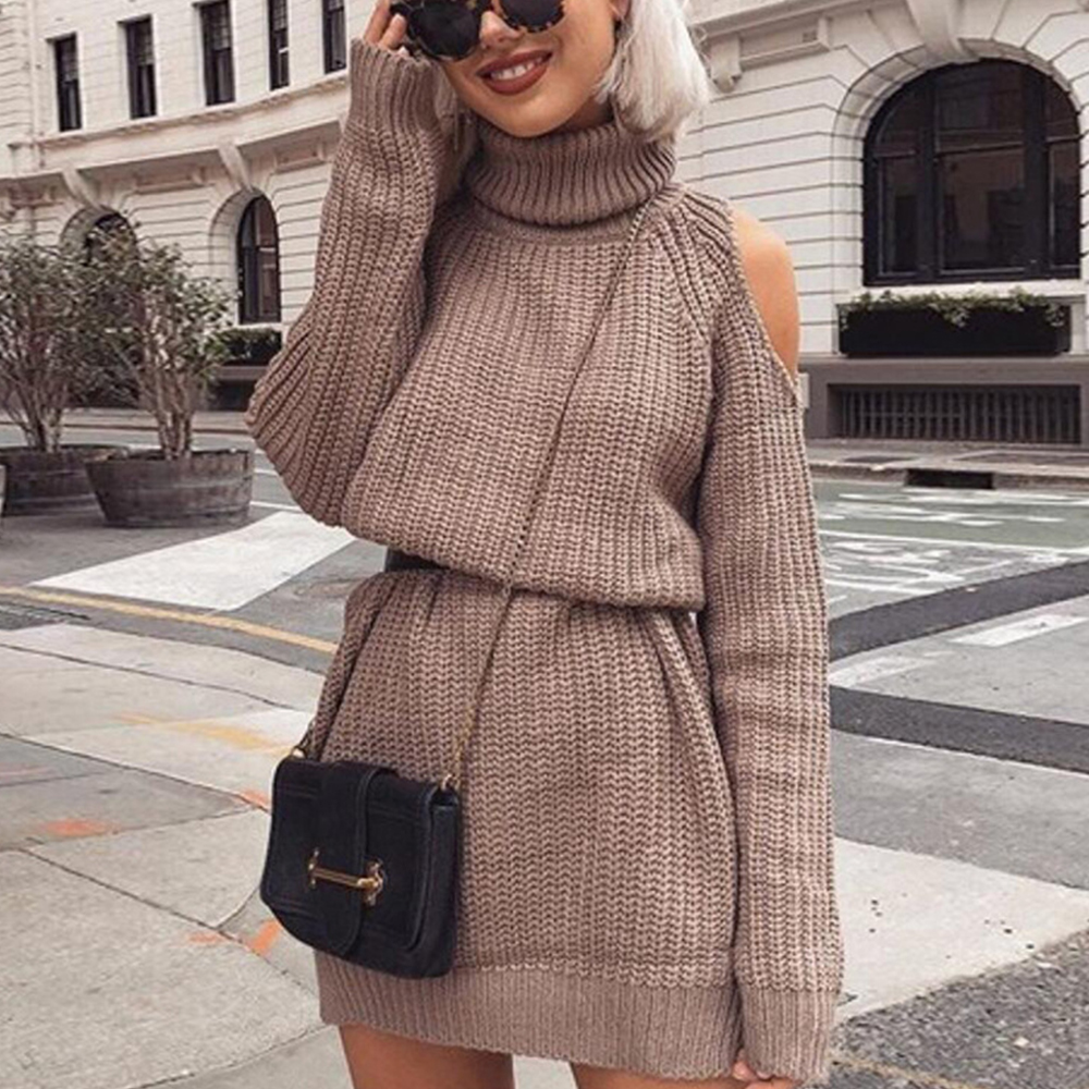 Knitting Sweater Dress Ladies Turtleneck Sexy Off Shoulder Autumn Winter Dress Women Pullover Slim Warm Jumper Dresses 2019 D20
