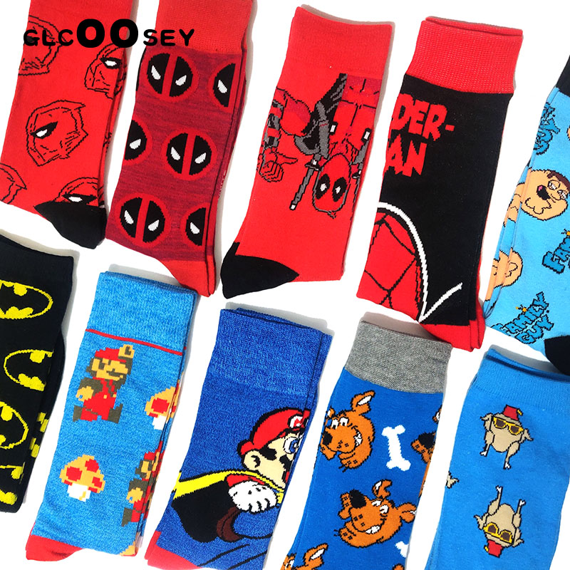 Men Funny Cartoon Anime Happy Socks Deadpool Batman Alien Venom Personalized Novelty Socks Women Cotton Sock Gifts For Men