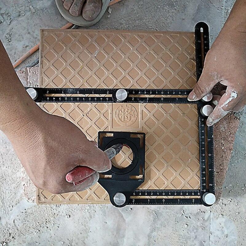 Construction Tools Multi Angle Measuring Ruler Aluminum Folding Positioning Ruler Professional DIY Wood Tile Flooring Punch Tool