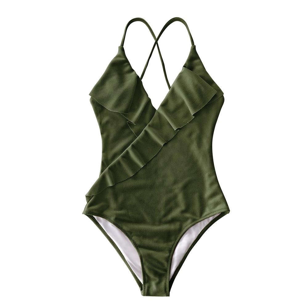 CUPSHE Happy Ending Yellow Solid One-piece Swimsuit Falbala V neck Ruffle Sexy Monokini 2020 Ladies Beach Bathing Suit Swimwear 5