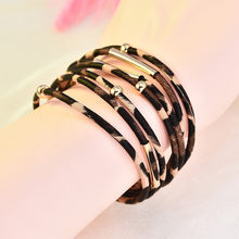Trendy Magnetic Multilayer Leopard Ladies Women Girls Leather Bracelet Jewelry Women Jewelry Gift Mujer Pulseras Free shipping(China)