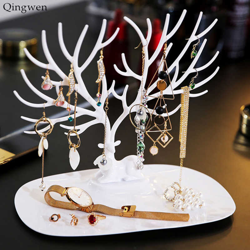 Qingwen Deer Earrings Necklace Ring Pendant Bracelet Jewelry Display Stand Tray Tree Storage jewelry Organizer Holder CE0560
