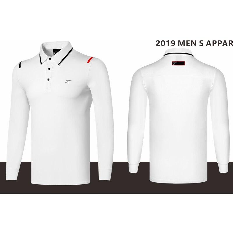 2019 nouveaux hommes chemises de golf à manches longues sport tissu séchage rapide polyester sport jersey 4 couleurs S ~ XXL blanc, rouge, marine, gris