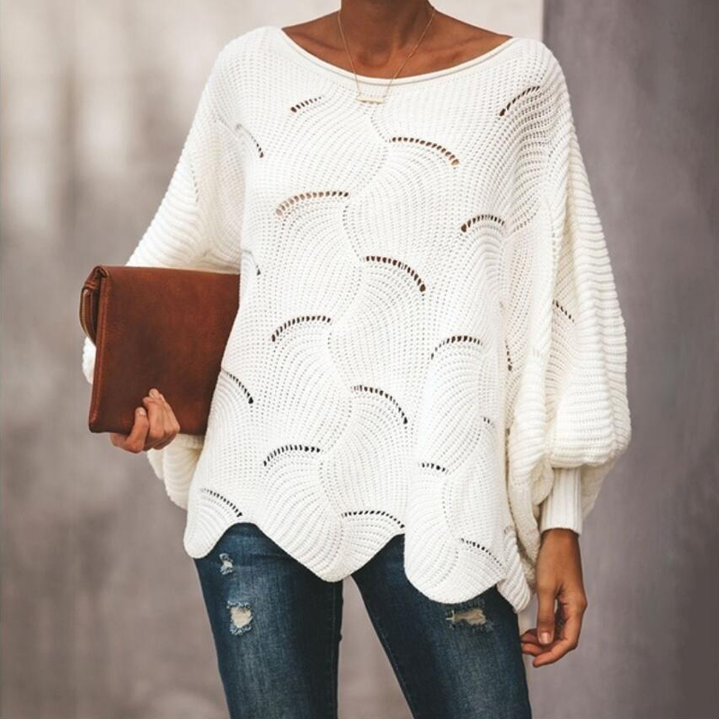 Fashion Women's Casual Blouse Bottoming Sweater Female Hollow Hook Flower Loose Knit Bat Shirt Top
